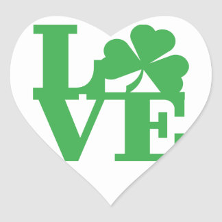LOVE and Shamrocks Heart Sticker