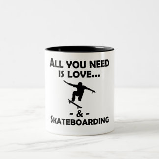 Love And Skateboarding Two-Tone Coffee Mug