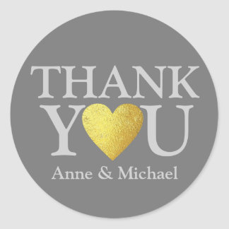 love and thank you . wedding favors classic round sticker