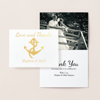 Love and Thanks Anchor Foil Card Wedding Photo