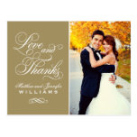 Love and Thanks | Antique Wedding Thank You Postcard