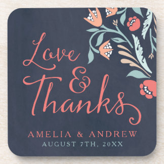 Love and Thanks Bluish Chalkboard Floral Wedding Drink Coaster