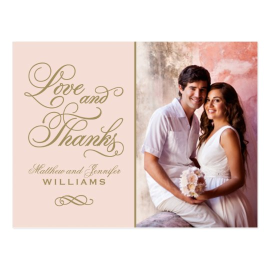 Love and Thanks | Blush Pink Wedding Thank You Postcard