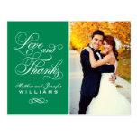 Love and Thanks   Emerald Wedding Thank You Postcard