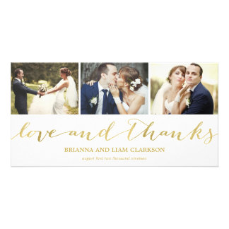Love and Thanks Gold Script  | Wedding Thank You Card
