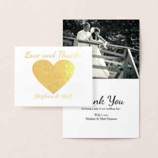 Love and Thanks Heart Foil Photo Wedding Thank You Foil Card
