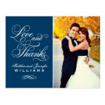 Love and Thanks | Navy Blue Wedding Thank You