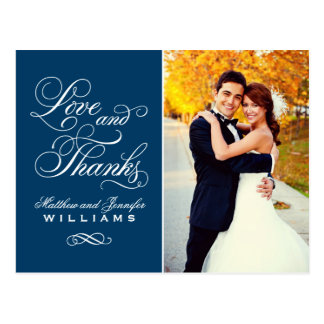 Love and Thanks | Navy Blue Wedding Thank You Postcard