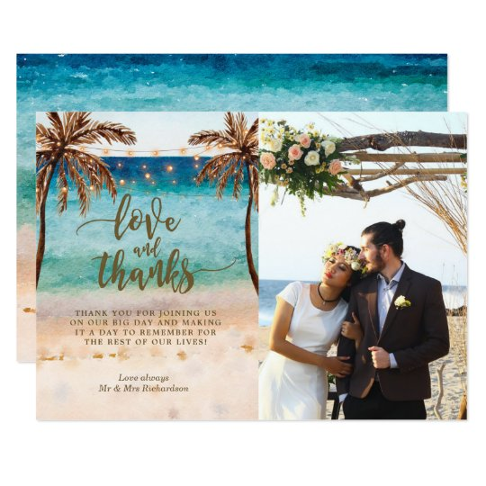love and thanks photo card boho beach tropical