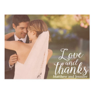 Love and Thanks | Photo Wedding Thank You Postcard