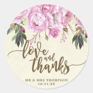 Love and thanks purple floral wedding sticker