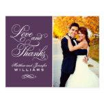 Love and Thanks | Purple Wedding Thank You Postcard