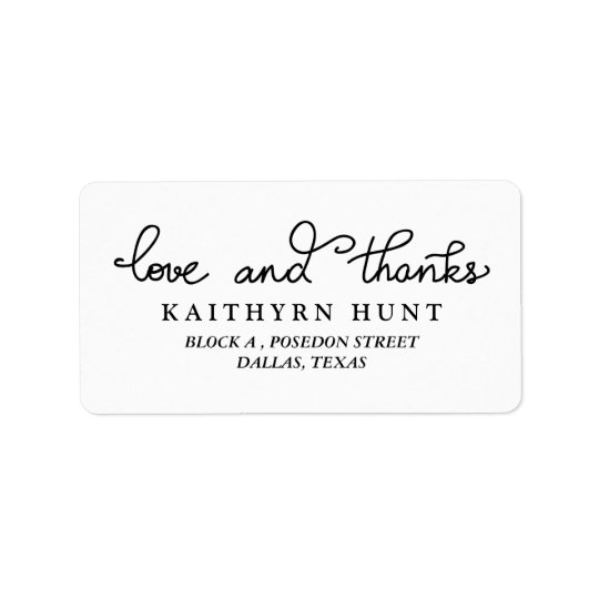 Love And Thanks Script Wedding Label