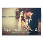 Love and Thanks Simple Script Full Bleed Photo Greeting Card