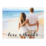 LOVE  AND THANKS TYPOGRAPHY THANK YOU POSTCARD