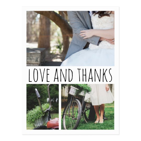 Love And Thanks Typography Three Wedding Photos Postcard