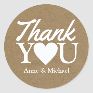 love and thanks wedding favor classic round sticker