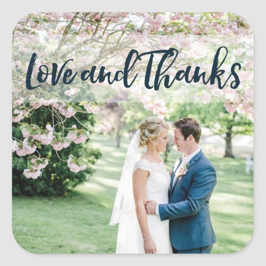 Love and Thanks Wedding Favour Sticker Label