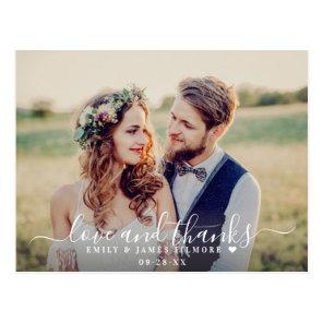 Love and Thanks   Wedding Photo Thank You Postcard