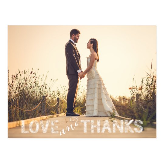 Love and Thanks Wedding Postcard