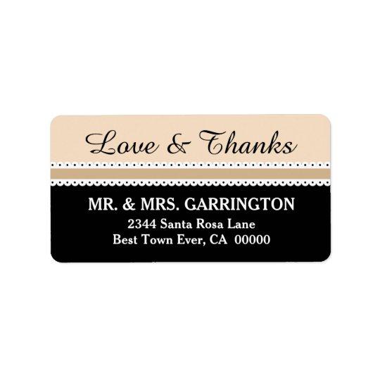 LOVE and THANKS Wedding Scalloped Ribbon V06 Address Label