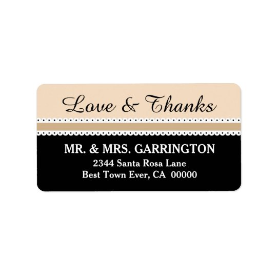 LOVE and THANKS Wedding Scalloped Ribbon V06 Label