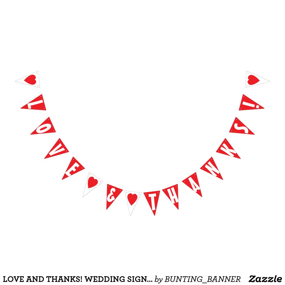 LOVE AND THANKS! WEDDING SIGN Triangle Shape