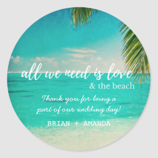 Love and the Beach Wedding Favor Stickers