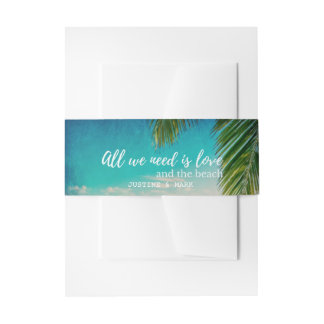 Love and the Beach Wedding Invitation Bands Invitation Belly Band