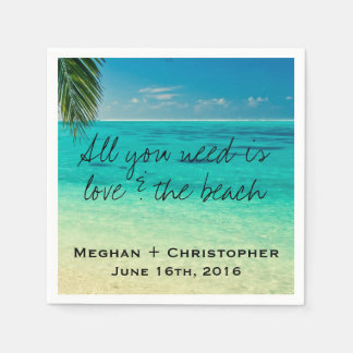 Love and The Beach Wedding Napkins Disposable Napkins