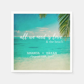 Love and the Beach Wedding Napkins Paper Napkin