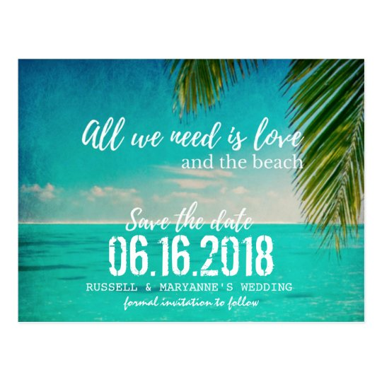 Love and the Beach Wedding Save the Date
