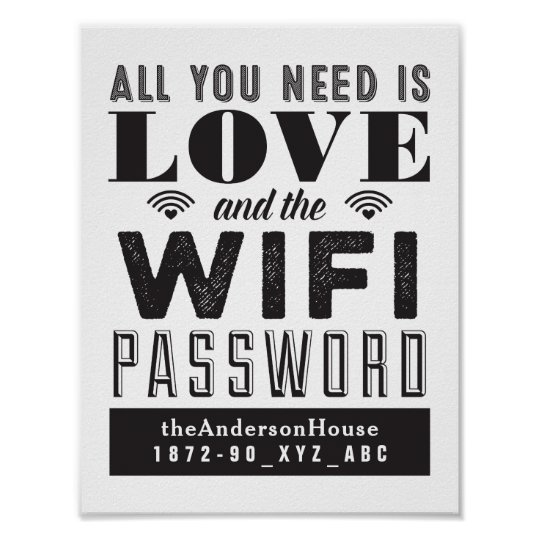Love and the WiFi Password Guest Room Art