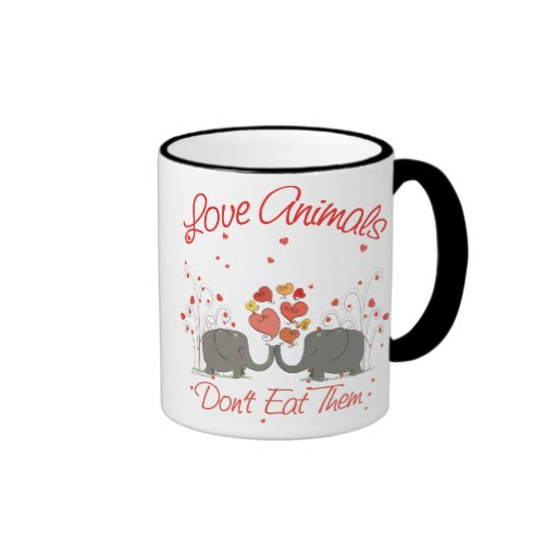Love Animals Dont Eat Them Ringer Coffee Mug