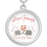 Love Animals Dont Eat Them Round Pendant Necklace