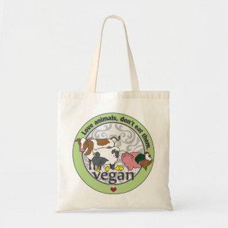 Love Animals Dont Eat Them Vegan Budget Tote Bag