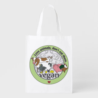 Love Animals Dont Eat Them Vegan Reusable Grocery Bag