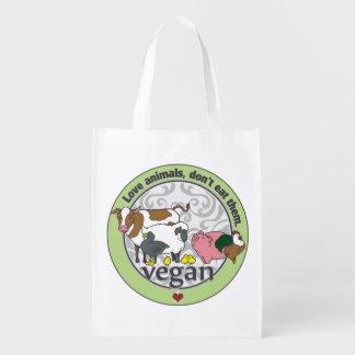 Love Animals Dont Eat Them Vegan Reusable Grocery Bag