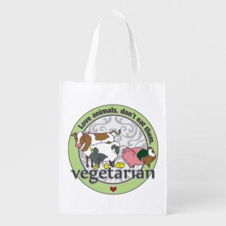 Love Animals Dont Eat Them Vegetarian Reusable Grocery Bag