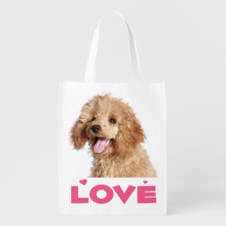 Love Apricot Poodle Puppy Dog Grocery Tote Bag