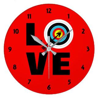 Love Archery Sport Target Board Cool Graphic Wall Clocks