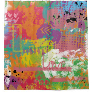 Love Art Digital Painting Abstract Paint Crazy Shower Curtain