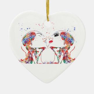 Love art, face anatomy, brain anatomy, medical art christmas ornament