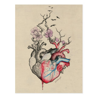 Love art merged anatomical hearts with flowers postcard
