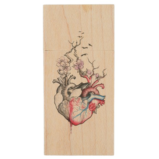 Love art merged anatomical hearts with flowers wood