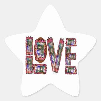 LOVE Artistic Script Star Sticker