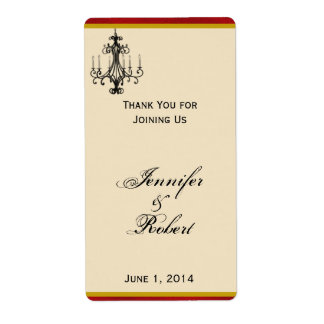 Love at Eiffel Tower Red Gold Wedding Wine Label Shipping Label