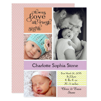 Love at First Sight Colorful Collage - 3x5 Girl Card
