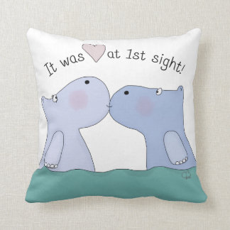 Love at First Sight Hippos Cushion