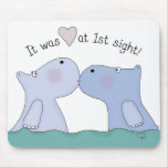 Love at First Sight Hippos Mouse Pad